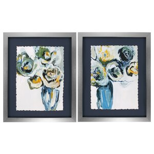 Blooms 2 Piece Framed Painting Print Set by Propac Images
