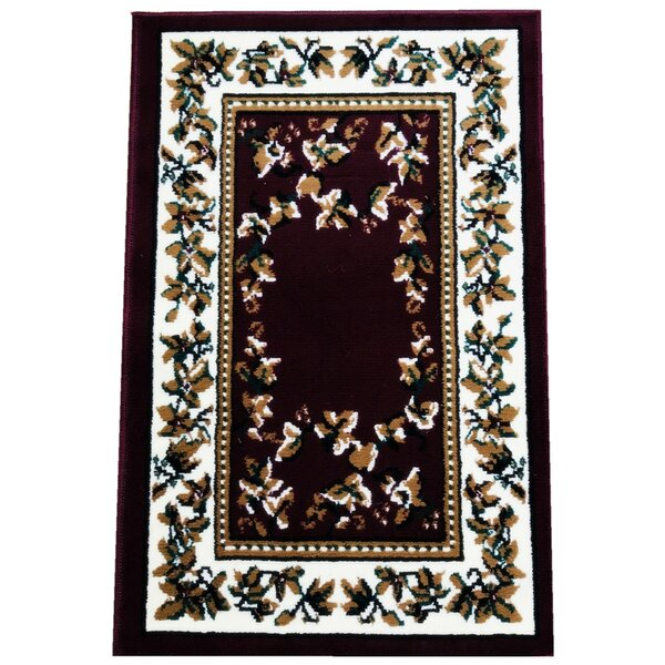 Principato Traditional Burgundy Area Rug by Charlton Home