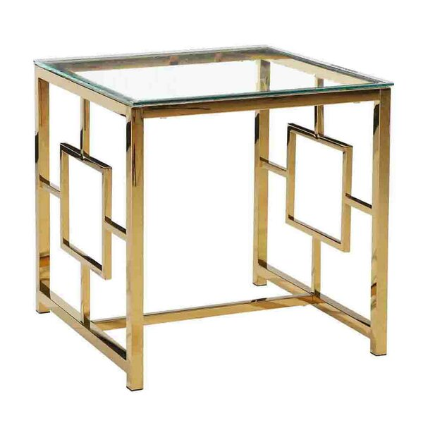 Radtke Glass Top Sled End Table By Mercer41