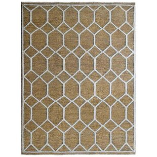 Find the perfect McArthur Sumak Geometric Hand-Knotted Gold/White Area Rug ByBay Isle Home