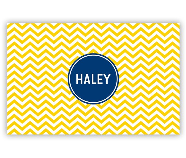 Chevron Block Personalized Laminated Placemat by Boatman Geller