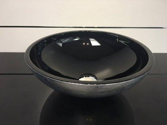 Mezza Luna Glass Circular Vessel Bathroom Sink by Maestro Bath