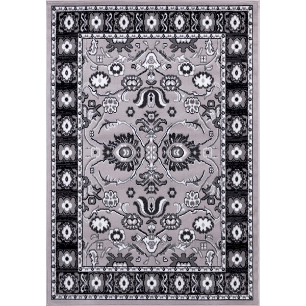 Gibraltar Gray/Black Area Rug by Charlton Home
