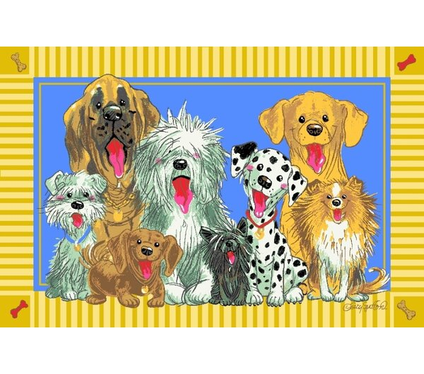 Wags and Whiskers The Dogs of Duckport Area Rug by Fun Rugs
