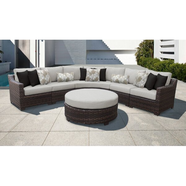 River Brook 6 Piece Rattan Sectional Seating Group with Cushions by kathy ireland Homes & Gardens by TK Classics