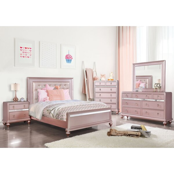 Hoskinson Sleigh Solid Wood 4 Piece Bedroom Set by House of Hampton
