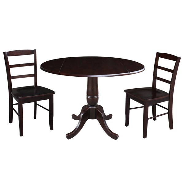 Spitzer Round Top Pedestal Extending 3 Piece Drop Leaf Solid Wood Dining Set by August Grove