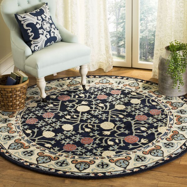 Moss Hand Tufted Wool Navy Area Rug by Bloomsbury Market