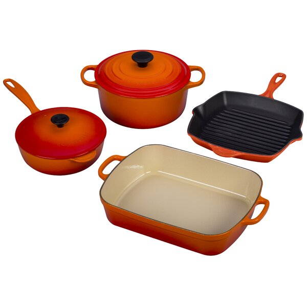 Enameled Cast Iron 6-Piece Signature Cookware Set by Le Creuset