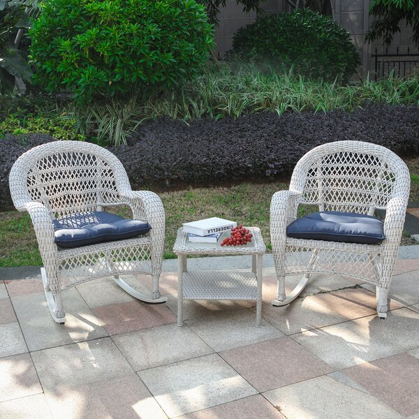 Memphis 3 Piece Rattan Seating Group with Cushions by Bay Isle Home