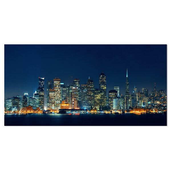 San Francisco Skyline at Night Cityscape Photographic Print on Wrapped Canvas by Design Art