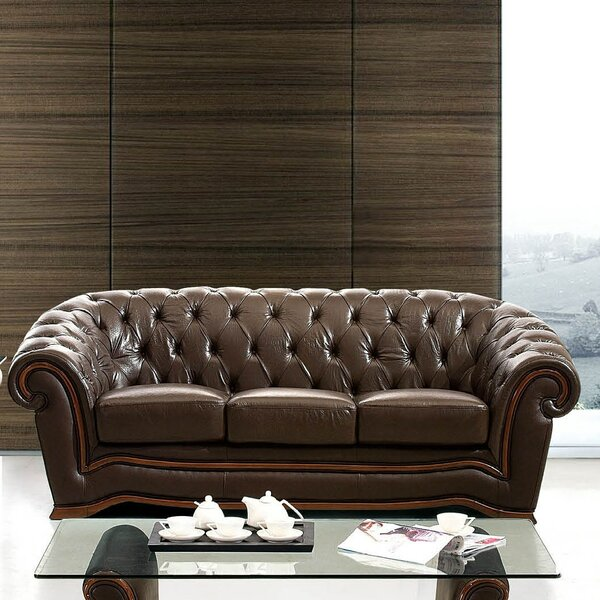 Medrano Leather Sofa by Canora Grey