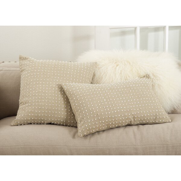 Leilani French Knot Cotton Lumbar Pillow by Saro