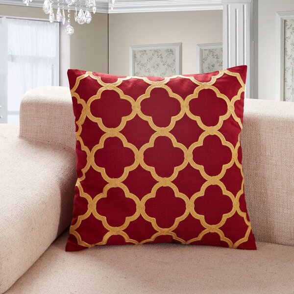 Alsager Embroidered Clover Throw Pillow by Mercer41