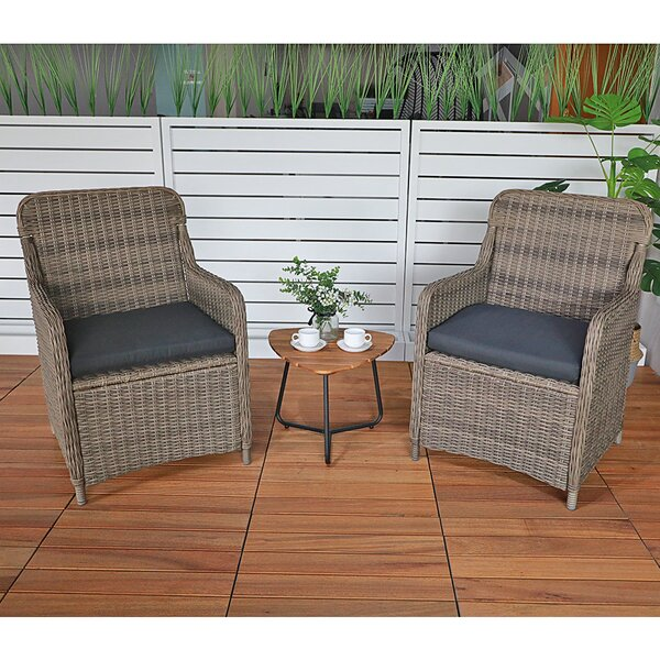Ostby 3 Piece Rattan Seating Group with Cushions by Highland Dunes