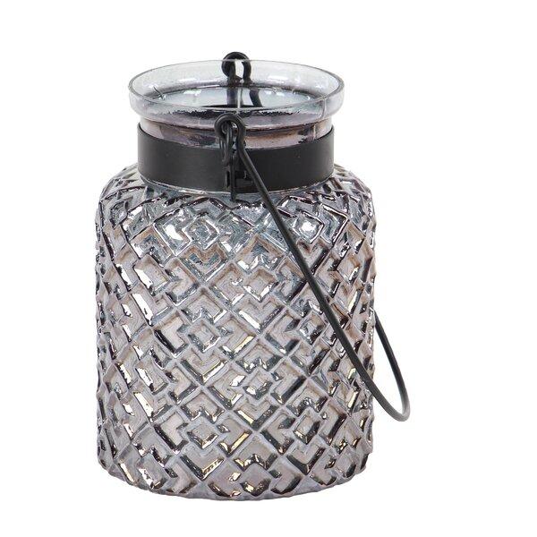 Modern Textured Glass Lantern by Bungalow Rose