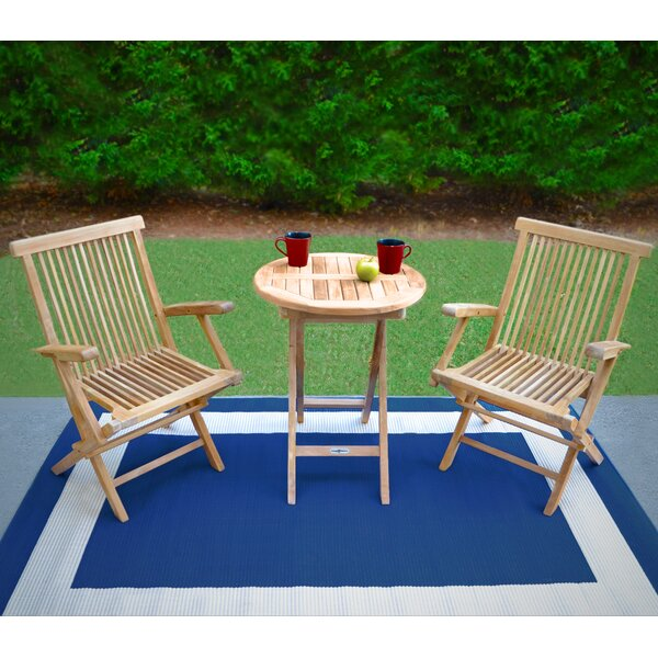Stewart 3 Piece Teak Bistro Set by Breakwater Bay