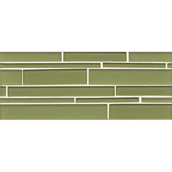 Harbor Glass Mosaic Random Interlocking Gloss/Matte Combo Tile in Moss by Grayson Martin