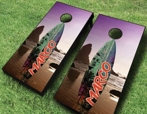 Surfboard Sunset Cornhole Set by AJJ Cornhole