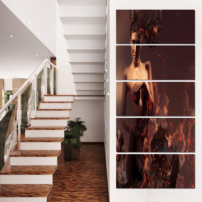 Designart Nude Woman in Burning Ashes Modern