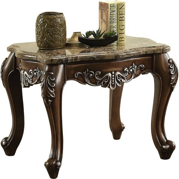 Britney Marble Top Wooden End Table By Astoria Grand