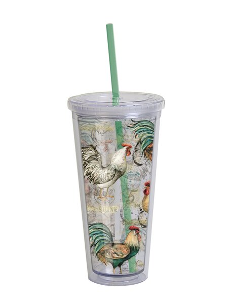 Dampierre Rooster March Acrylic 22 oz. Insulated Tumbler by August Grove