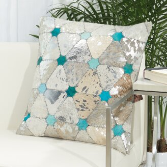 Liniwa Turquoise Stars Leather Throw Pillow by Trent Austin Design