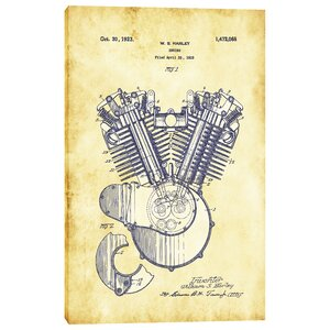 Harley Engine Vintage Patent Vintage Advertisement on Wrapped Canvas by Epic Graffiti