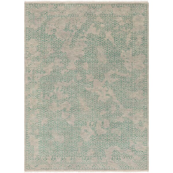 Lazzaro Hand-Knotted Green/Gray Area Rug by One Allium Way
