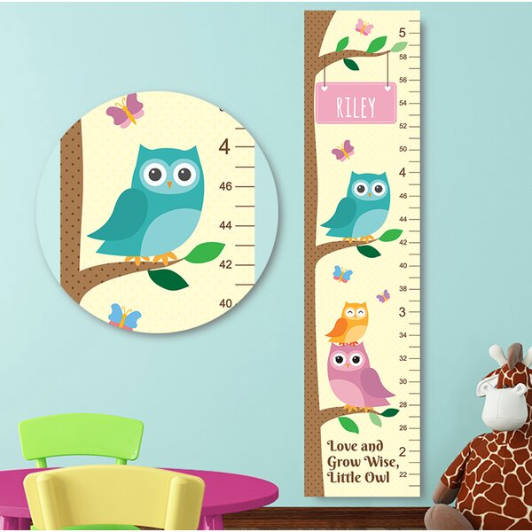 Jolie Prints Personalized Owl Canvas Decal Growth Chart Wayfair