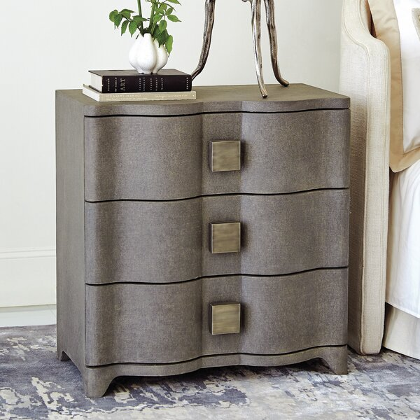 Toile Linen Bedside 3 Drawer Chest by Studio A Home