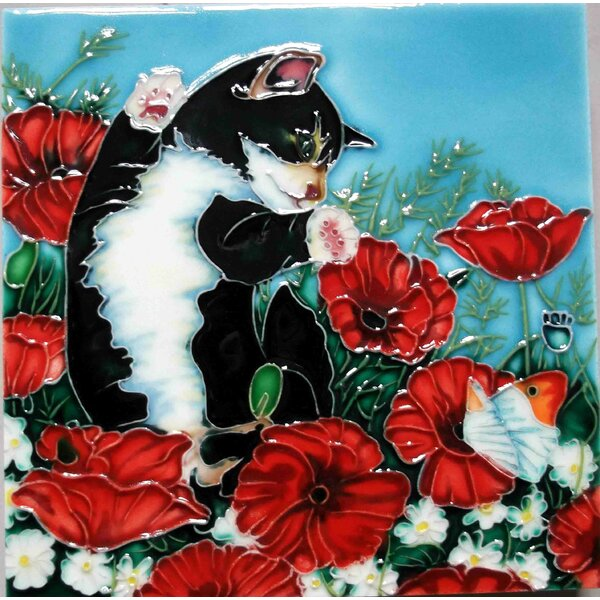 Black and White Kitten with Red Poppies Tile Wall Decor by Continental Art Center