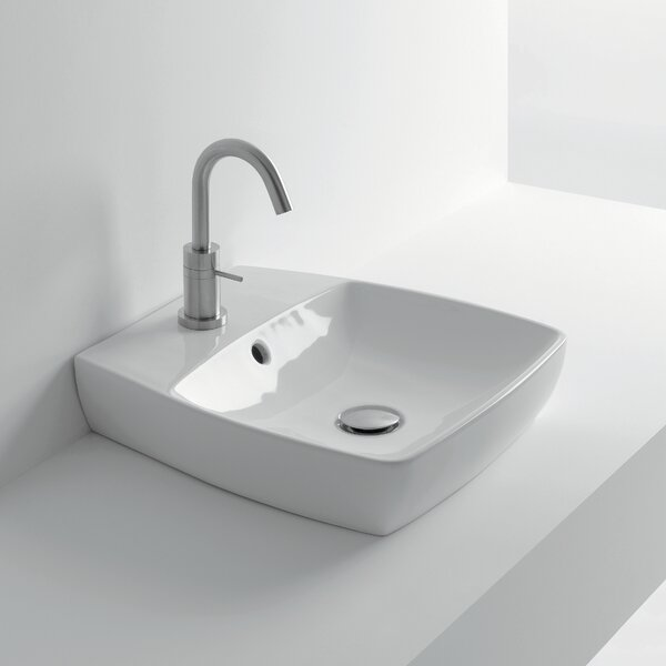 H10 Ceramic 17 Wall Mount Bathroom Sink with Overflow by WS Bath Collections