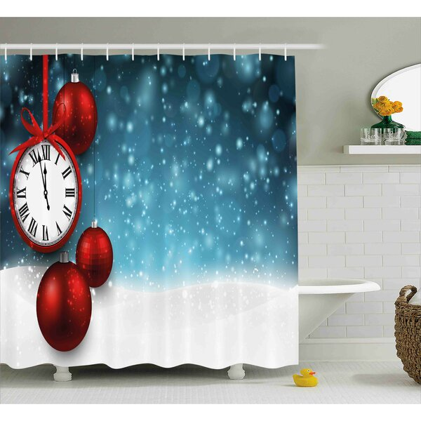 Joan Clock New Year Theme Christmas Balls and a Vintage Clock Background With Snowflakes Shower Curtain by Ebern Designs