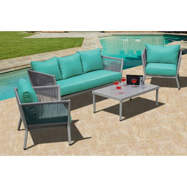 Hackworth Woven Rope Deep 4 Piece Sofa Set with Sunbrella Cushion by Bungalow Rose