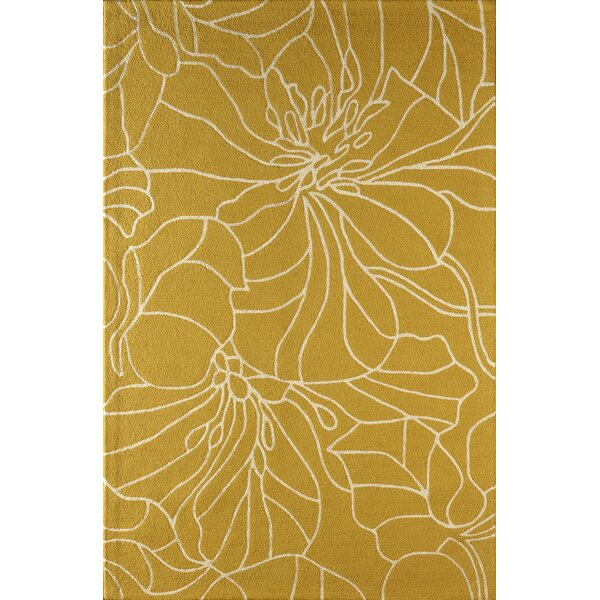 Gina Hand-Tufted Gold/Ivory Area Rug by Latitude Run