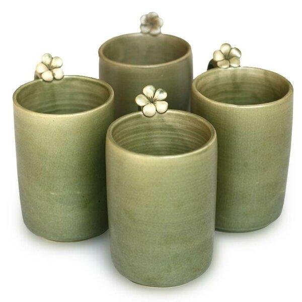 Floral Ceramic Mug (Set of 4) by Novica
