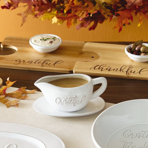 Bountiful Blessing Grateful Ceramic Gravy Boat with Condiment Server by Precious Moments