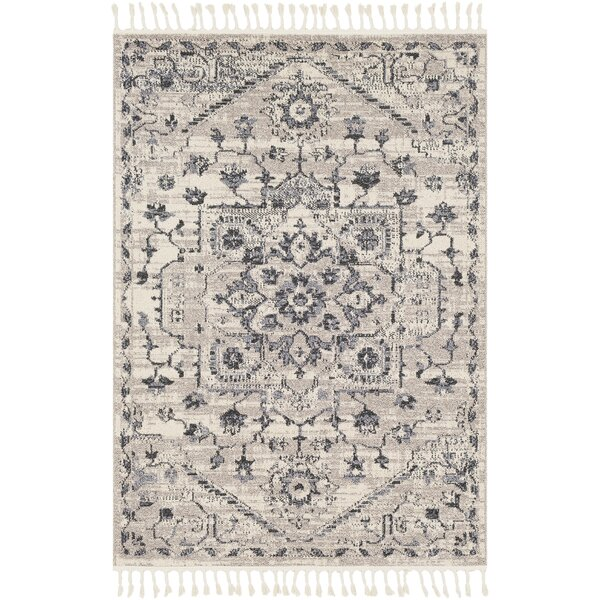 Tamika Distressed Vintage Charcoal/Ivory Area Rug by Bungalow Rose