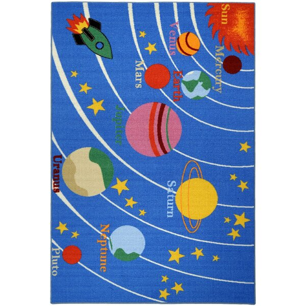 Jessee Kids Educational Galaxy Planets Stars Blue Area Rug by Zoomie Kids