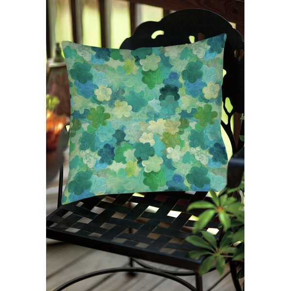 Aqua Bloom Water Blends Indoor / Outdoor Throw Pillow by Manual Woodworkers & Weavers