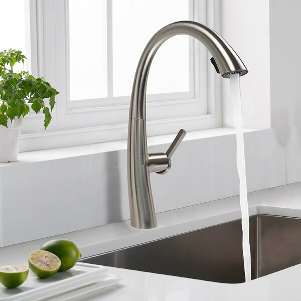 Luxury High Arc Pull Down Single Handle Kitchen Faucet by Cosmo