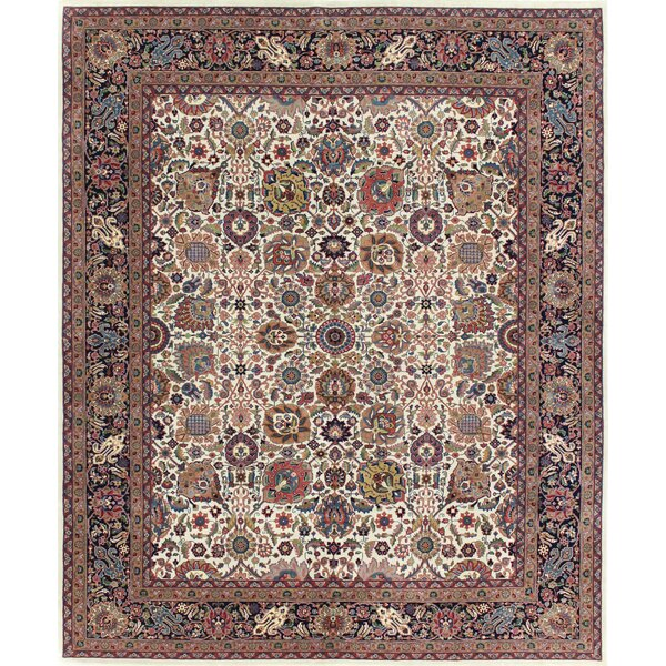 One-of-a-Kind Meltzer Indo Kashan Hand-Knotted Wool Beige/Brown Area Rug by Bloomsbury Market