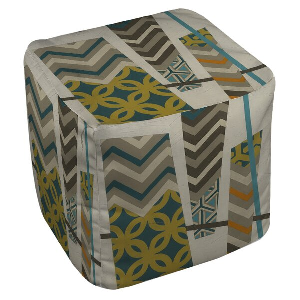 Abstract Scrapbook Pouf by Manual Woodworkers & Weavers