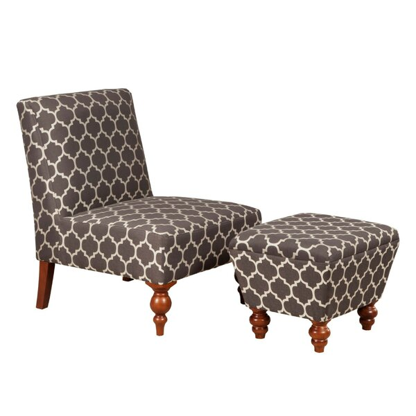 Palafox Trellis Pattern Fabric Upholstered Wooden Side Chair and Ottoman (Set of 2) by Charlton Home