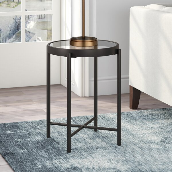 Javin Glass Top End Table By Foundstone