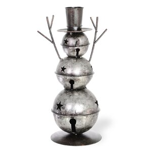 Snowman Bell Tall Galvanized Metal Candle Holder