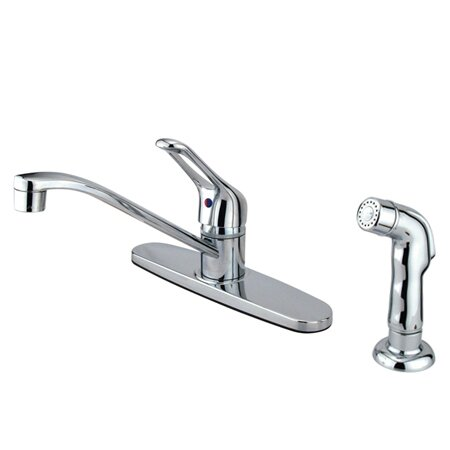 Wyndham Centerset Single Handle Kitchen Faucet with Side Spray by Kingston Brass