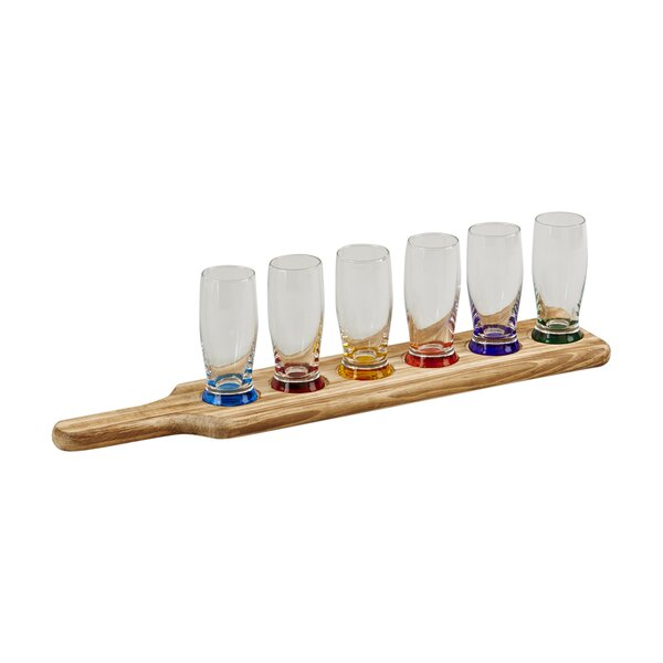 7 Piece Cup and Wooden Holder Tavern Tasting Set by Creative Gifts International