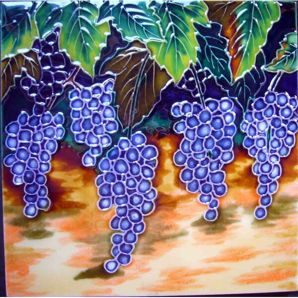 Grapes Tile Wall Decor by Continental Art Center